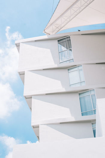 architecture with blue sky and clouds Architecture Sunlight Blue Sky With Clouds Building Design Idea Outdoors Sky White Windows