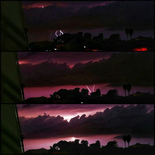 No People Multi Colored Landscape Triptych 3 Pictures from 200 shots. WeekOnEyeEm EyeEm Gallery Holiday And Relaxing from the balcony Beauty In Nature Night Thunder And Lightning