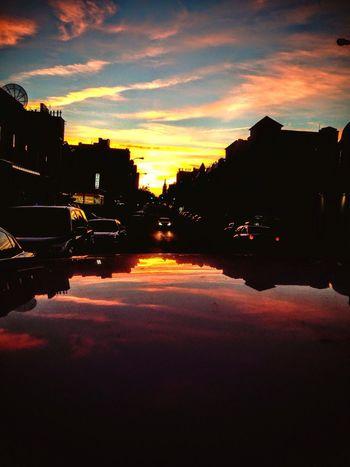 City sunset reflection Photography Cityscapes Cityscape Reflection Car New York City Creativity Creative
