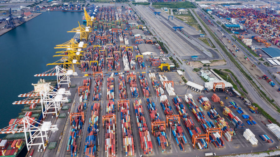 Transportation Architecture High Angle View Mode Of Transportation Shipping  Commercial Dock Cargo Container Freight Transportation Nautical Vessel Aerial View Harbor Water Container Industry Pier City Business Nature Outdoors Trucking No People Cityscape