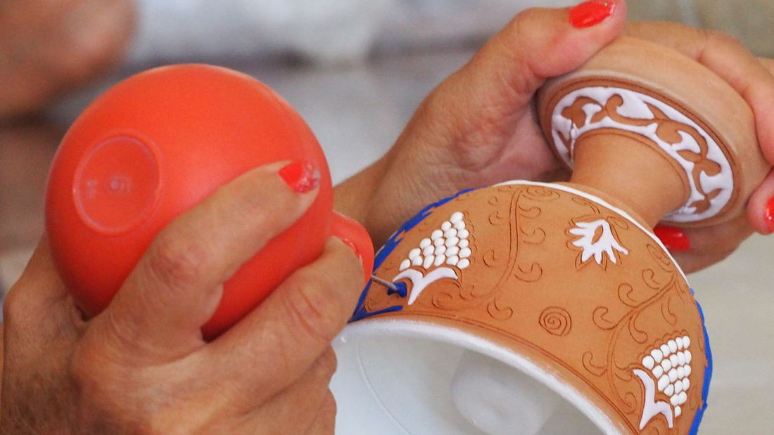 Skills  Ceramics Factory Rhodes Greece Bonis Ceramics Ceramic Art Craft Ceramic Artwork Hand Painted Pot Human Hand One Person Close-up One Woman Only