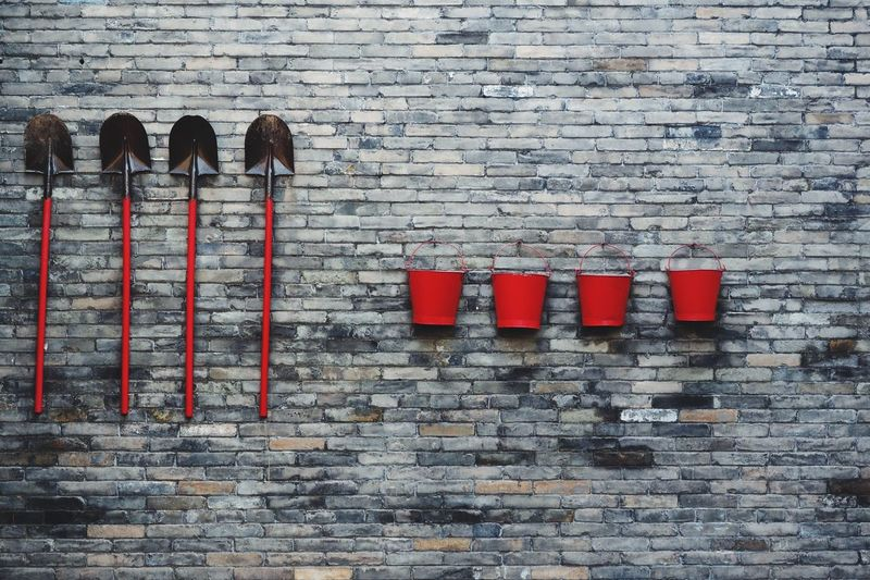 Sorting Things Sorting  Fire Brigade Fire Prevention Shovel Bucket Red Wall Well sorted out fire prevention equipment ! 5s Order Our Chinese firemen like to have their gear in good order ! Pattern Pieces Beautifully Organized Eyeem Sold