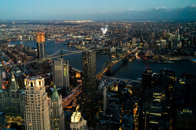 New York New York City NYC Manhattan Brooklyn Brooklyn Bridge  Manhattan Bridge East River Evening City Fidi Downtown Downtown District River Travel Destinations Cityscape City Architecture Building Exterior Aerial View Skyscraper River High Angle View Water