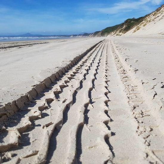 Exploring Ocean Beach Tyre Imprint Track Perspective Depth Of Field Sand Dune 4wd Explore Beach Summer Blue Sky Tasmania Australia Coastline Sand Landscape Outdoors Desert Day Nature Shadow Tire Track