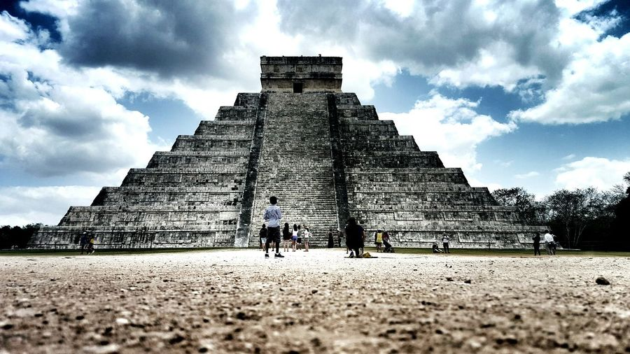 People Traveling At Chichen Itza