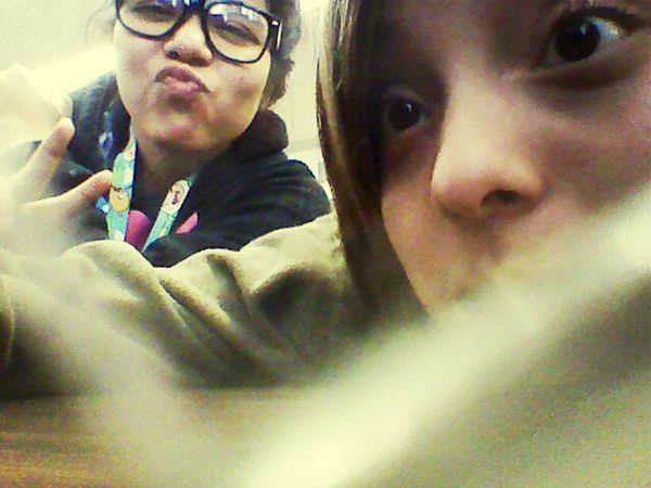 Earlier today with the bestiee doing our schedule for our senior year❤ ! :D
