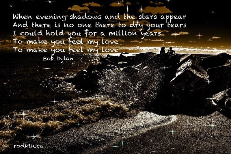 When evening shadows and the stars appear And there is no one there to dry your tears I could hold you for a million years To make you feel my love To make you feel my love ~ Bobdylan BobDylanQuotes Makeyoufeelmylove Love Stars