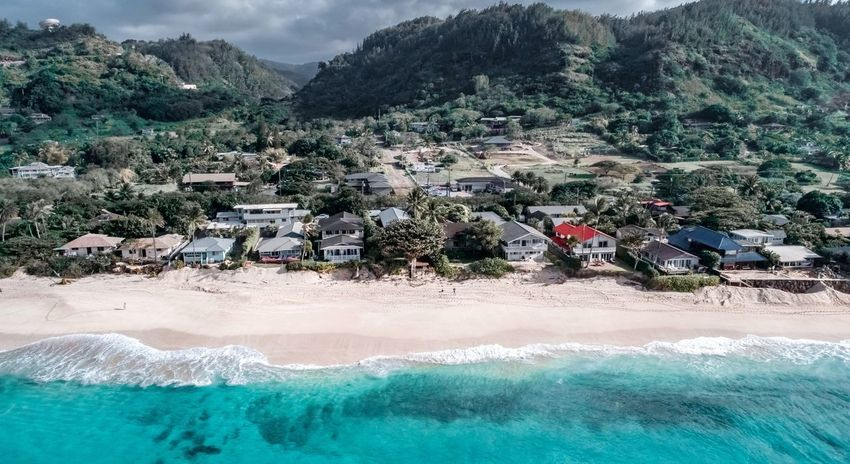 Hawaii Life Dji Photography Drone  Hawaii Oahu Sunsetbeach Northshore Shore Water Day Nature Plant Tree Land Mountain Outdoors Sea High Angle View Beach Beauty In Nature