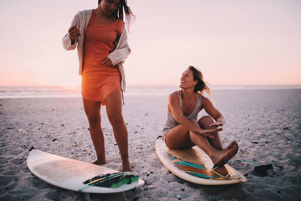 Beach Sea Water Sky Two People Adult Sunset Holiday Leisure Activity Sand Vacations Full Length Young Adult Nature Trip Women Togetherness Clothing Horizon Over Water Couple - Relationship Outdoors Surfing Surfboards