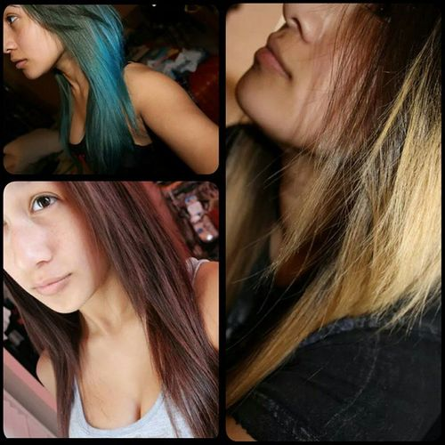 Some Pictures Of Me When I Dyed My Hair; Blonde, Aquamarine, and Reddish Brown Throwbackthursday  Thelittlemermaid Redridinghood Zelda Nofilter