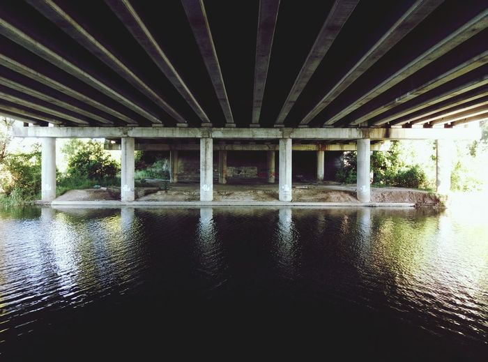 Sometimes you're under the bridge... Architecture Connection Built Structure Water Underneath Architectural Column Symmetry No People Covered Bridge Outdoors River Morning Reflection