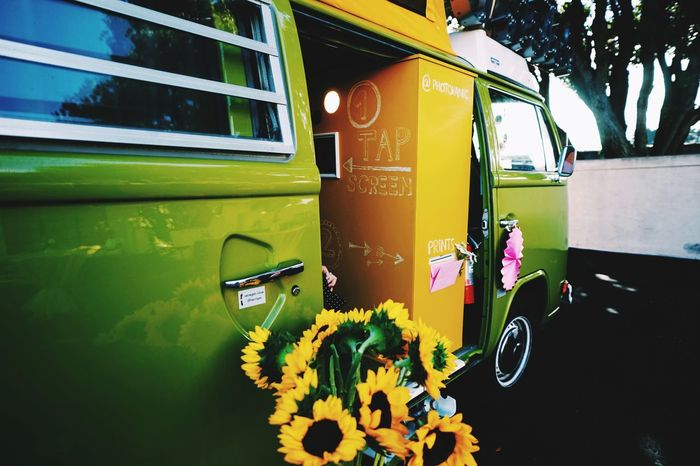 Photo booth in a VW Bus Mode Of Transportation Transportation Land Vehicle Nature Public Transportation Day Communication Bus Yellow Car Western Script No People