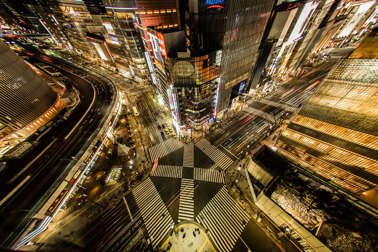 High angle view of city street at night