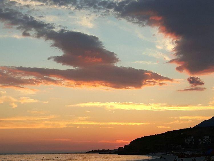 idyllic sunset Water Sea Sunset Mountain Silhouette Beach Sky Horizon Over Water Cloud - Sky Landscape