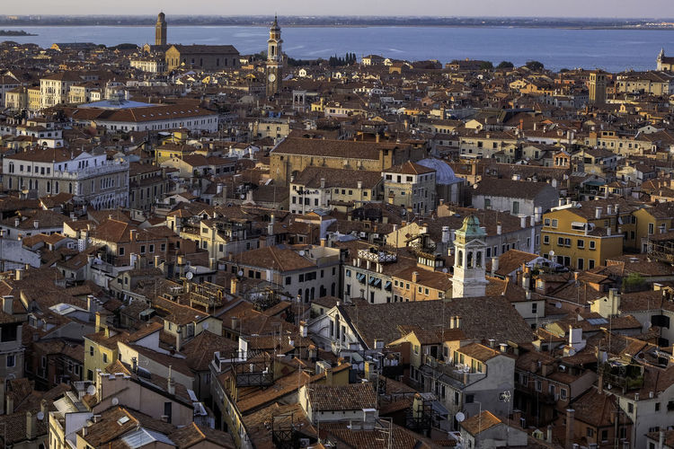 Aerial panoramic view of venice and the lagoon from the top of campanile di san marco