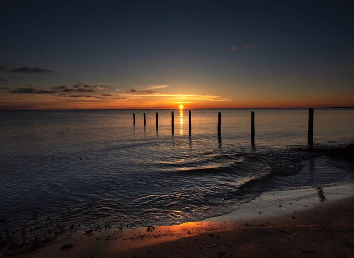 Wonderful sunset Strand Strand Sonnenuntergang Sonne Nature_collection Beach Sunset Sun Water Silent Horizon Over Water Tranquil Scene Tranquility Nature No People Sand Outdoors Romantic Sky Idyllic Reflection Horizon
