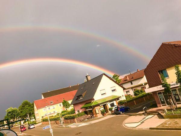 Double Rainbow Building Exterior Rainbow Day Outdoors