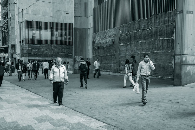 Bogotá Bogota,colombia. Colombia Downtown City Architecture Building Exterior Group Of People Built Structure Men Real People People Full Length Crowd Building Standing Lifestyles Street Leisure Activity Walking Adult Women City Life Outdoors