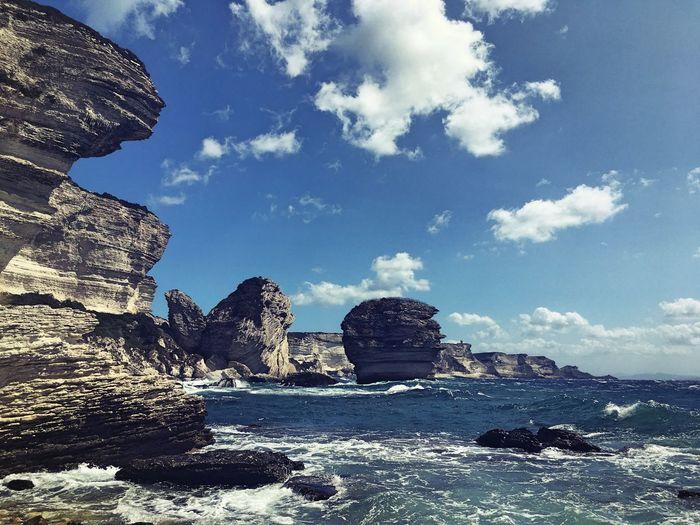 Sea Ocean View Ocean View Water Oecean Scenery Rock - Object Rock Formation Sky Cloud - Sky Nature Day Geology