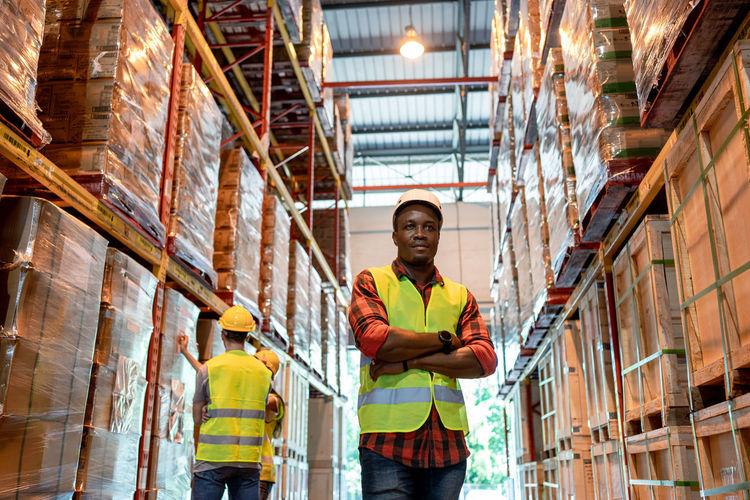 Portrait of man working in building