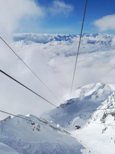 Snow Cloud - Sky Cold Temperature Landscape Outdoors Nature Mountain Deep Snow Ski Lift Winter Ski Holiday Skiing Snowboarding Seegrube Hafelekar From Above  Physical Geography Day Power Line  Social Issues No People Cable Technology Overhead Cable Car Sky