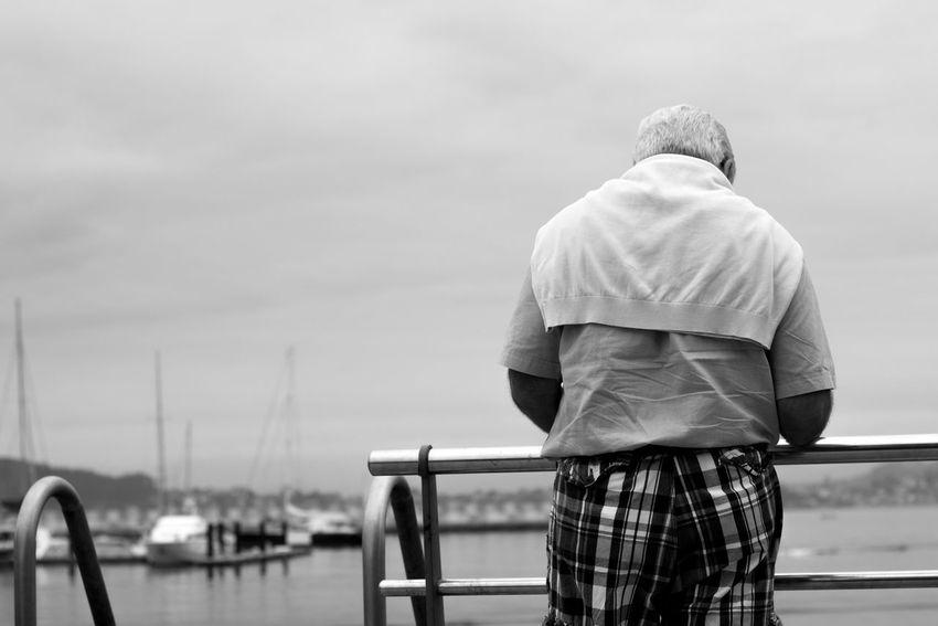 Fishing Village Fishing Port Galicia Galicia, Spain Hard Work Man Old Man SPAIN Vigo Vigo, Galicia (España) #vigo #galicia #pontevedra #spain #españa Black And White Blackandwhite Blackandwhite Photography Casual Clothing Elderly Elderly Man Lifelong Lifestyles Port Real People Rear View Sea Sea Port Seaman Standing