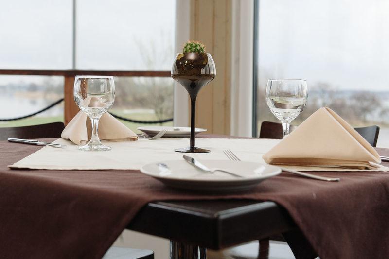 Table arranged in restaurant