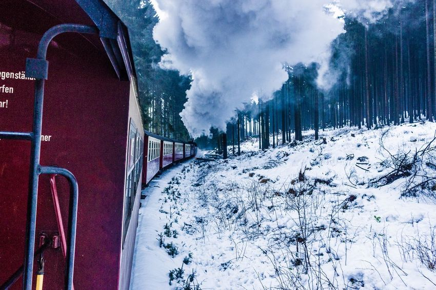 Steam on. Steam Locomotive Steam Train Mode Of Transport Transport Train EyeEm Selects Snow Winter Cold Temperature Weather Nature Outdoors Cloud - Sky Day No People Sky Transportation Mountain Beauty In Nature Tree