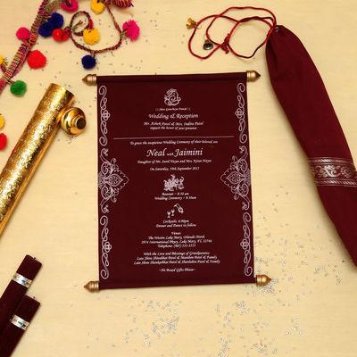 Card Code: CSC-5005E Type - Wedding Invitations Color - Red Stuff Type - Velvet Shop Now: Royal Wedding Invitaions Scroll Wedding Invitations Scroll Wedding Invites Wedding Cards Wedding Invitations Wedding Invites