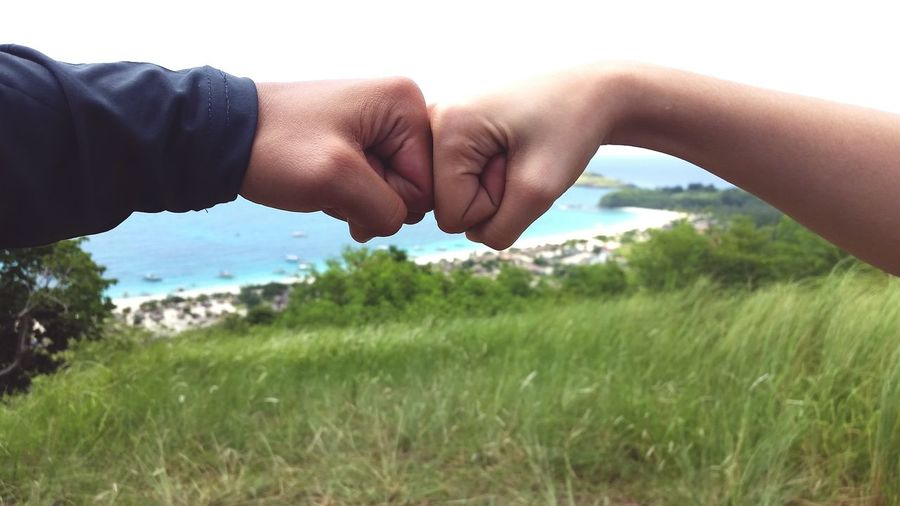 Cropped hands of friends punching on grassy field against sky