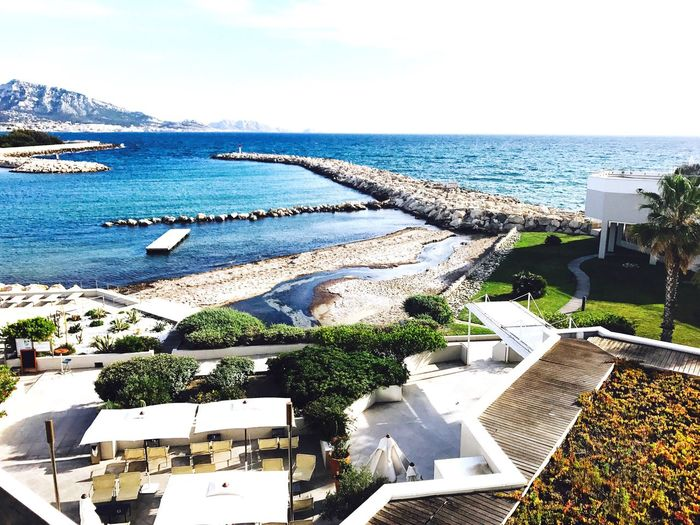 Water Nature Sea Day High Angle View Outdoors Scenics Beauty In Nature Built Structure Architecture Horizon Over Water Tranquility Building Exterior Sky No People Tranquil Scene Tree Marseille