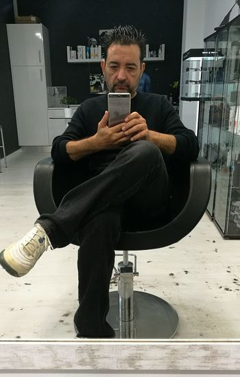 Wireless Technology Mobile Phone Portable Information Device Smart Phone One Man Only Men My Year My View Barbershop