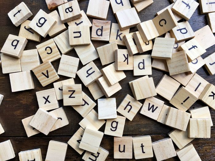 Directly Above Shot Of Toy Blocks On Table