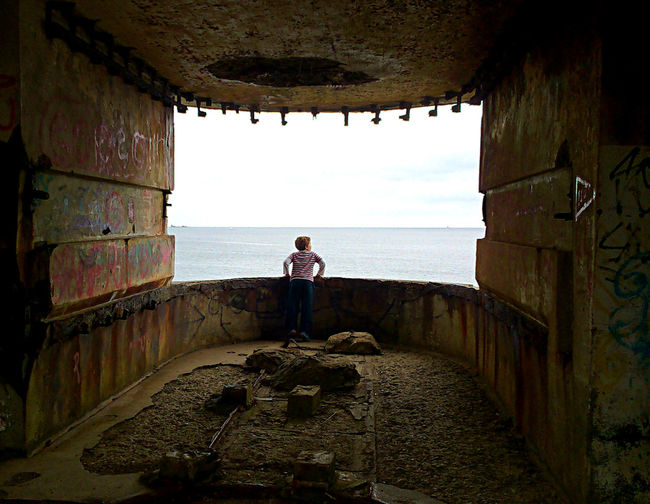 Fortress View Lookout Built Structure Defences Fort Fortress Horizon Looking At View Lookout Point One Person Sea Wartime Architecture