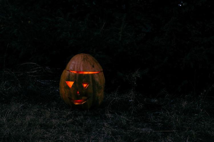 Close-up Field Grass Illuminated Jack O Lantern Nature Night No People Outdoors Pumpkin