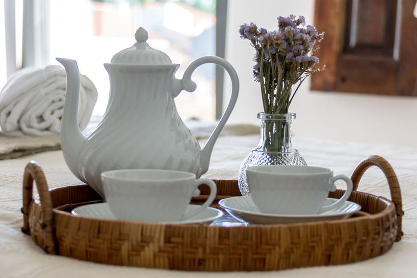 Room service Close-up Coffee - Drink Coffee Cup Day Drink Flower Food And Drink Freshness Indoors  No People Refreshment Room Service Saucer Table Teapot Vase