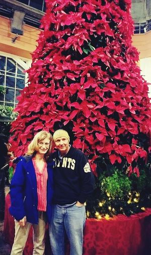 Celebration in the Oaks First Christmas Together Firstchristmastree Flower Young Women Men Smiling Togetherness Women Happiness Cheerful Portrait Couple - Relationship