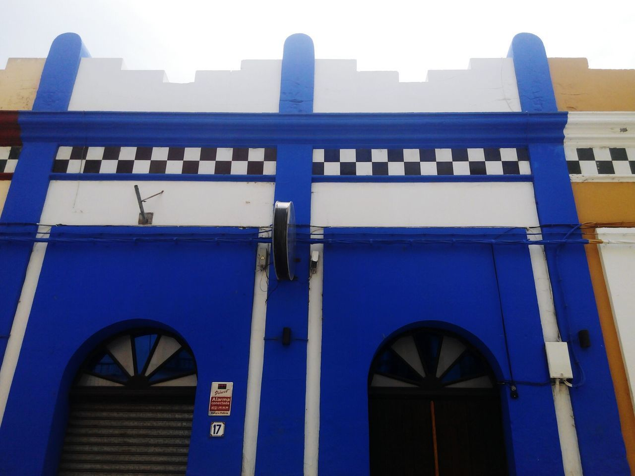 blue, architecture, built structure, building exterior, low angle view, no people, outdoors, day, close-up