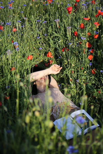 Man and flower in field