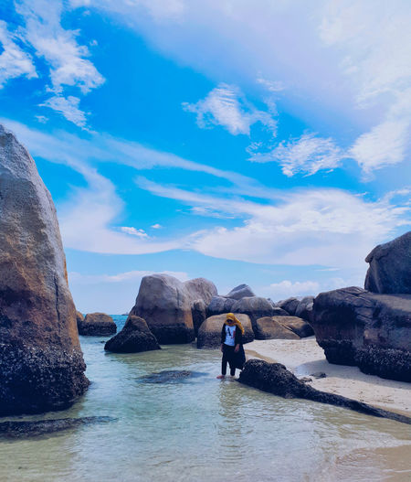 Hidden Paradise in Bangka . Bangka, Indonesia. Water Sky Rock Solid Rock - Object Scenics - Nature Sea Beauty In Nature Cloud - Sky Rock Formation Real People Lifestyles Nature Day Tranquility Leisure Activity Tranquil Scene Waterfront Blue Outdoors Nature Beauty In Nature Enjoying Life EyeEm Best Shots EyeEmNewHere