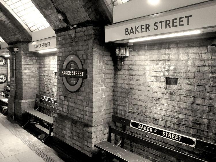 Baker Street Underground DrWatson Holmes London Queen Sherlock Signs Underground Underground Station  Watson Bakerstreet Benches England No People Sherlockholmes Thedetective Uk Walls EyeEm LOST IN London EyeEm Selects