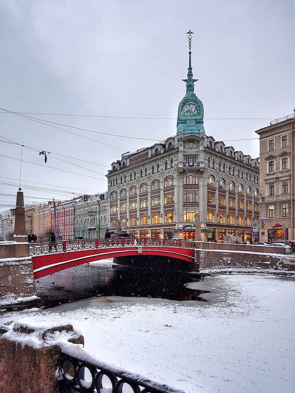 snow, winter, architecture, cold temperature, built structure, building exterior, weather, transportation, outdoors, sky, rail transportation, day, land vehicle, nature, no people, city, snowing