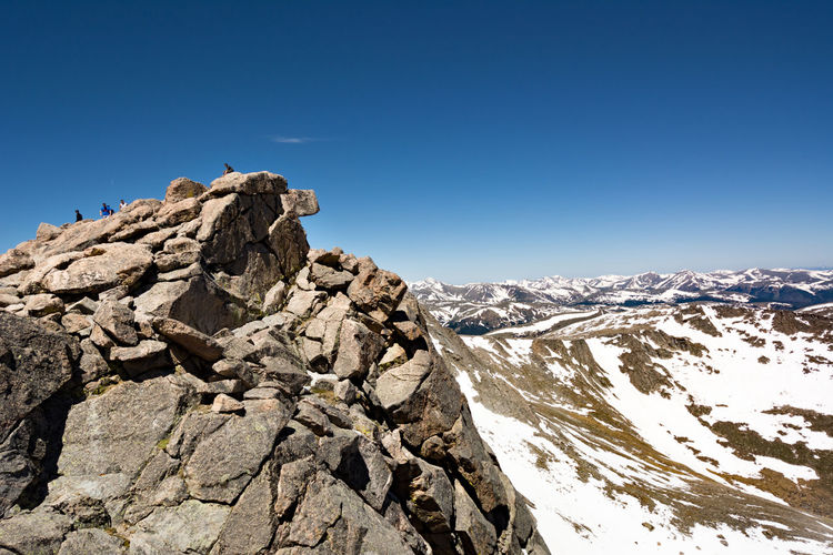 Snowed rocky landscape against blue sky