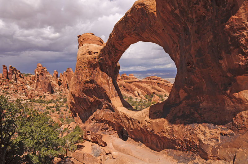 Scenic view of rock formation against cloudy sky