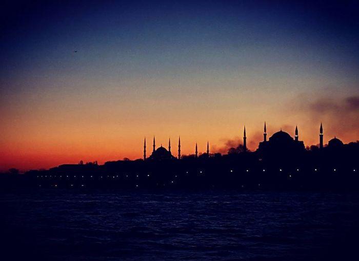 Sunset Silhouette Sea Water Outdoors Nature Boat PhotoByMuratGul Marmarasea Turkey Istanbul Bosphorus Gunbatimi Ayasofya (Hagia Sophia) Sultanahmetcamii Sultan Ahmed Mosque Bluemosque