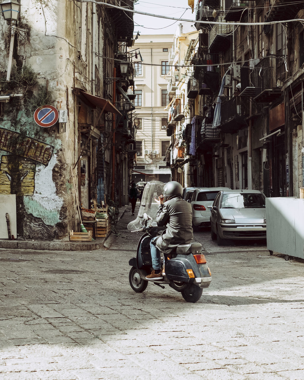Motorcycle On Street In City