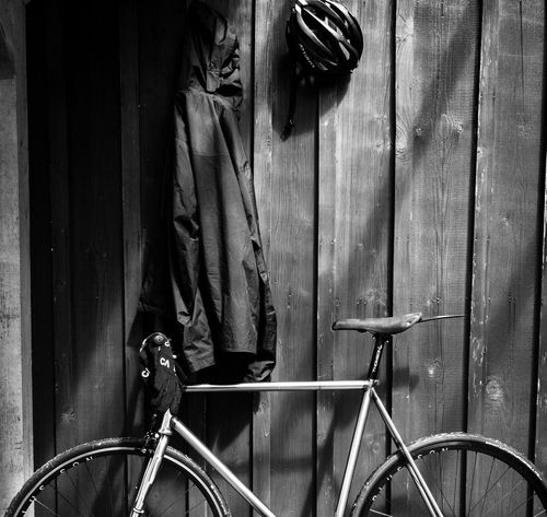 Bicycle Bike Fixedgear Focale44 Blackandwhite IPhoneography Iphoneonly Apple Iphone7 Giro Holztextur Sunlight Foggy Morning Lifestyles No People EyeEm Selects