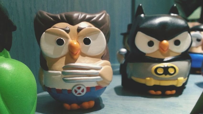 """""""Goofy - Wolverine & Batman"""". Owls Gufetti Figurines  Statuine Smartphone Photography Galaxy Note 2 Camerazoomfx in HDR mode and Eyeemfilter vintage plus fade"""