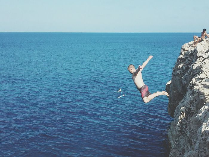 Adventure Jumping Cliff Horizon Over Water Sky Cliff Jumping Sea People Island Cliff Diving Adventure Club
