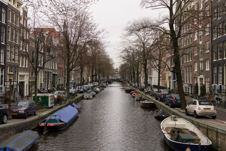 View of canal passing through city